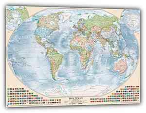"""Aktuelle Politische Weltkarte """"Antik"""", deutsch, 150 x 100 cm"""
