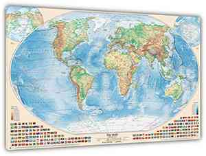 Physische Weltkarte, 120x80 cm, deutsch, Leinwand-Druck