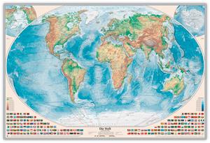 Physische Weltkarte, Größe 120 x 80 cm, deutsch, Pinnwand im Alurahmen