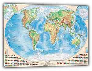 Physische Weltkarte mit Flaggen