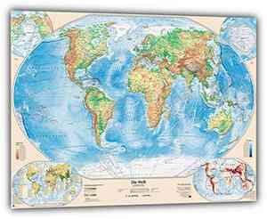 Physische Weltkarte mit 4 Nebenkarten, 100x70 cm, deutsch