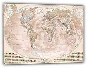 """Aktuelle Politische Weltkarte """"Sepia"""", 150x100 cm, deutsch"""