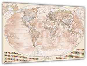 """Aktuelle Politische Weltkarte """"Sepia"""", 120x80 cm, deutsch, gedruckt auf Leinwand"""