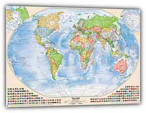 Politische Weltkarte, 120x80 cm, deutsch