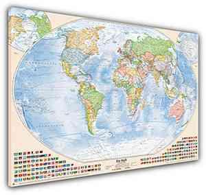 Politische Weltkarte, 120x80 cm, deutsch, Leinwand-Druck