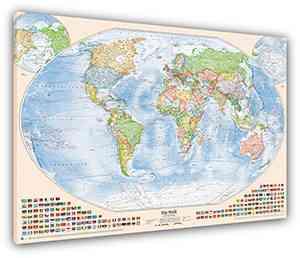 Politische Weltkarte, 100x70 cm, deutsch, Leinwand-Druck