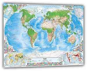 Satellitenbild-Weltkarte mit 4 Nebenkarten, 119x84 cm, deutsch