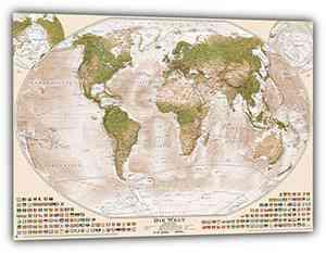"""Weltkarte """"Sepia"""", 120x80 cm, deutsch"""