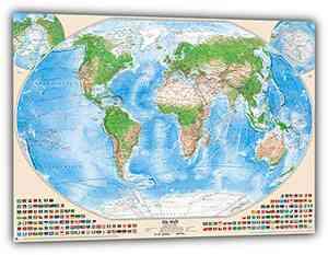 Satellitenbild-Weltkarte mit Flaggen