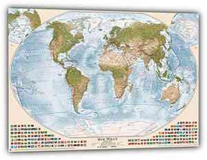 Weltkarte �Antik� mit Flaggen