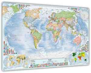 Politische Weltkarte mit 4 Nebenkarten, 140x100 cm, deutsch, Leinwand-Druck