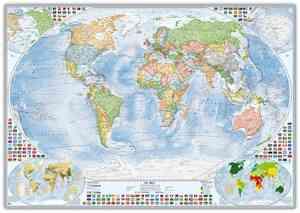 Politische Weltkarte mit 4 Nebenkarten, 100x70 cm, deutsch, Pinnwand im Alurahmen (silber)
