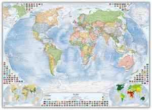 Politische Weltkarte mit 4 Nebenkarten, 140x100 cm, deutsch, Pinnwand im Alurahmen (silber)