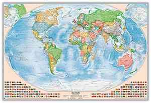 Politische Weltkarte, Größe 120 x 80 cm, deutsch, Pinnwand im Alurahmen