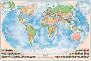 Politische Weltkarte, Größe 150 x 100 cm, deutsch, Pinnwand im Alurahmen