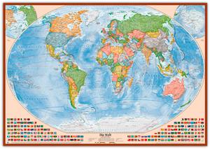 Politische Weltkarte, Größe 120 x 80 cm, deutsch, Pinnwand im Holzrahmen (kirsche)