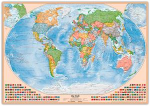 Politische Weltkarte, Größe 120 x 80 cm, deutsch, Pinnwand im Holzrahmen (natur)