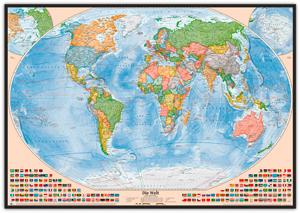 Politische Weltkarte, Größe 120 x 80 cm, deutsch, Pinnwand im Holzrahmen (schwarz)