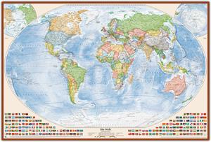 Politische Weltkarte, Größe 150 x 100 cm, deutsch, Pinnwand im Holzrahmen (kirsche)