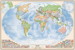 Politische Weltkarte, Größe 150 x 100 cm, deutsch, Pinnwand im Holzrahmen (natur)