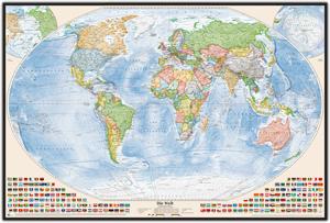 Politische Weltkarte, Größe 150 x 100 cm, deutsch, Pinnwand im Holzrahmen (schwarz)