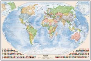 Politische Weltkarte, Größe 150 x 100 cm, deutsch, Pinnwand im Holzrahmen (weiß)
