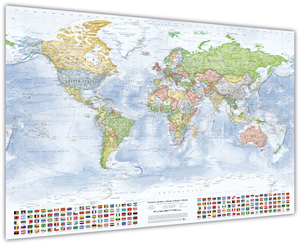Politische Weltkarte, 120 x 80 cm