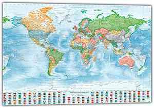 XXL-Poster: Politische Weltkarte, 220x144 cm, englisch, Aktuell: Stand 2018
