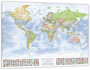 Politische Weltkarte, 100 x 70 cm, Leinwand auf Keilrahmen