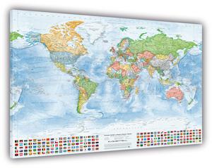 Politische Weltkarte, 150 x 100 cm, Leinwand auf Keilrahmen