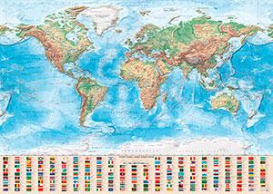Physische Weltkarte (Englisch)