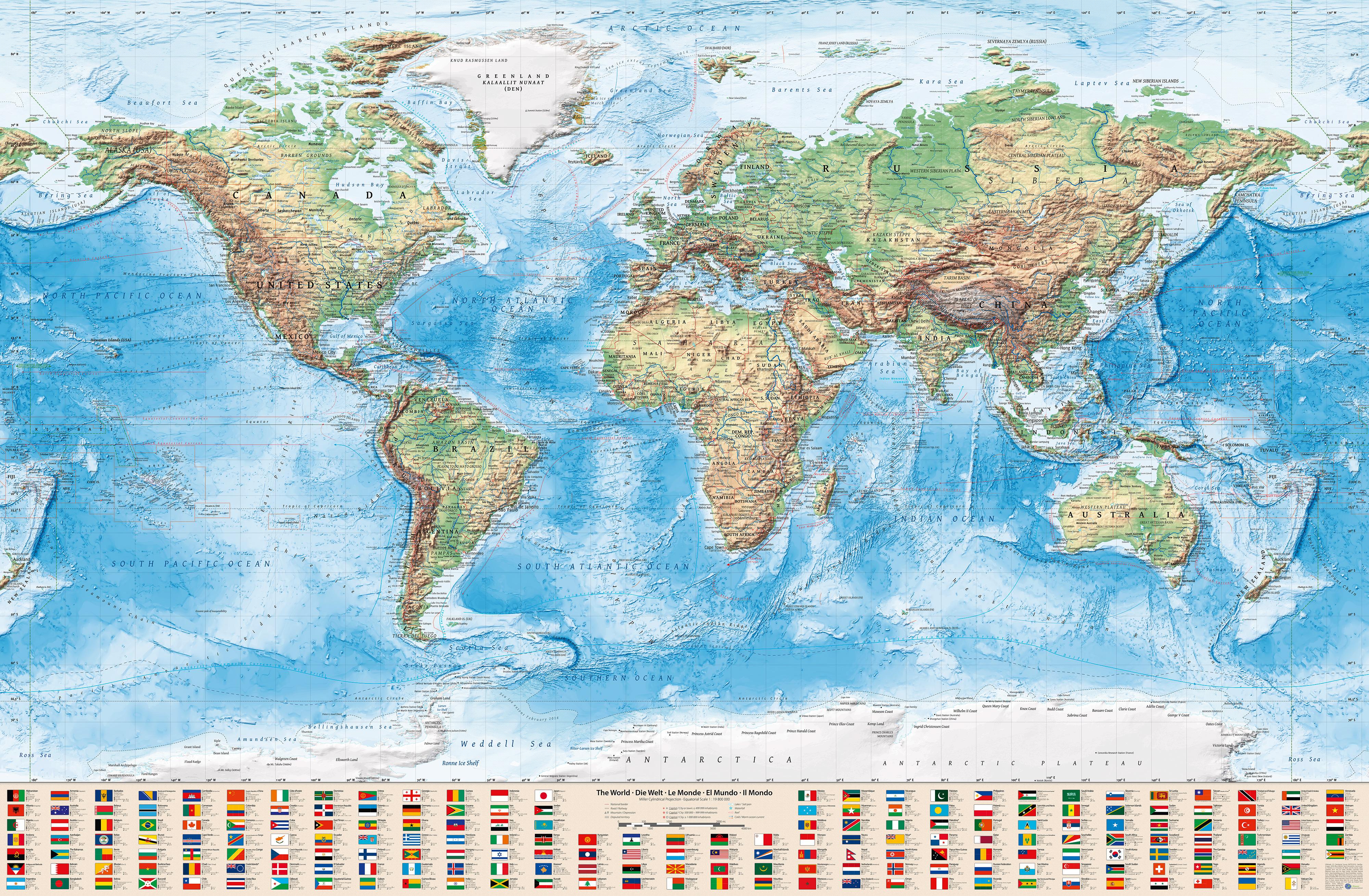 Physische Weltkarte, 220x144 cm, englisch