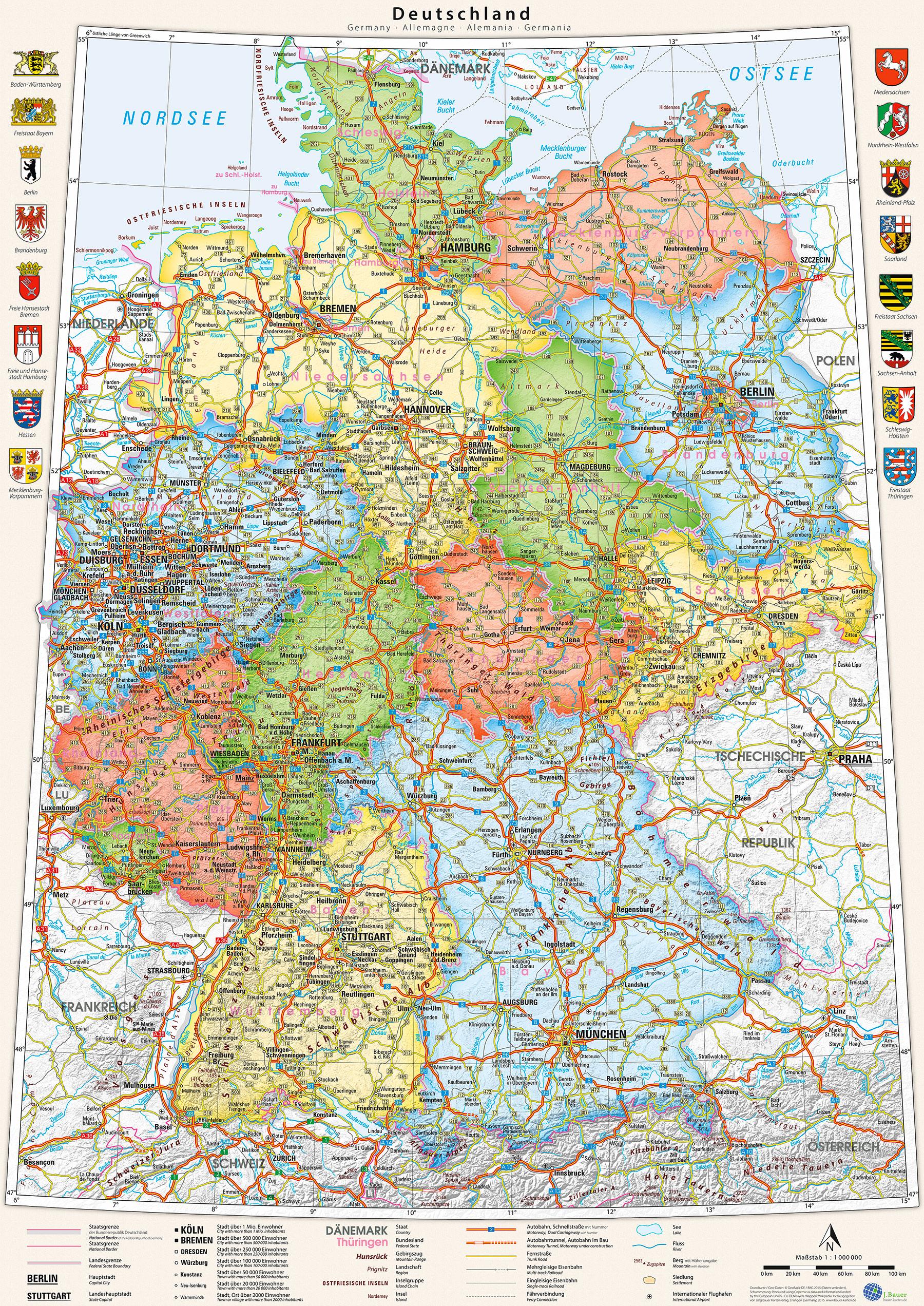 Poster Deutschland Karte Politisch Bundesländer 70 X 100 Cm Mit