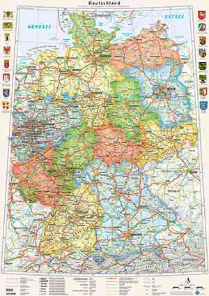 Poster Deutschland-Karte politisch Bundesländer, 70 x 100 cm, mit Wappen und Relief-Schummerung