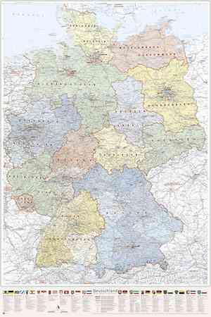 Poster Deutschland-Karte politisch Bundesländer, 80 x 120 cm, mit Wappen und Relief-Schummerung