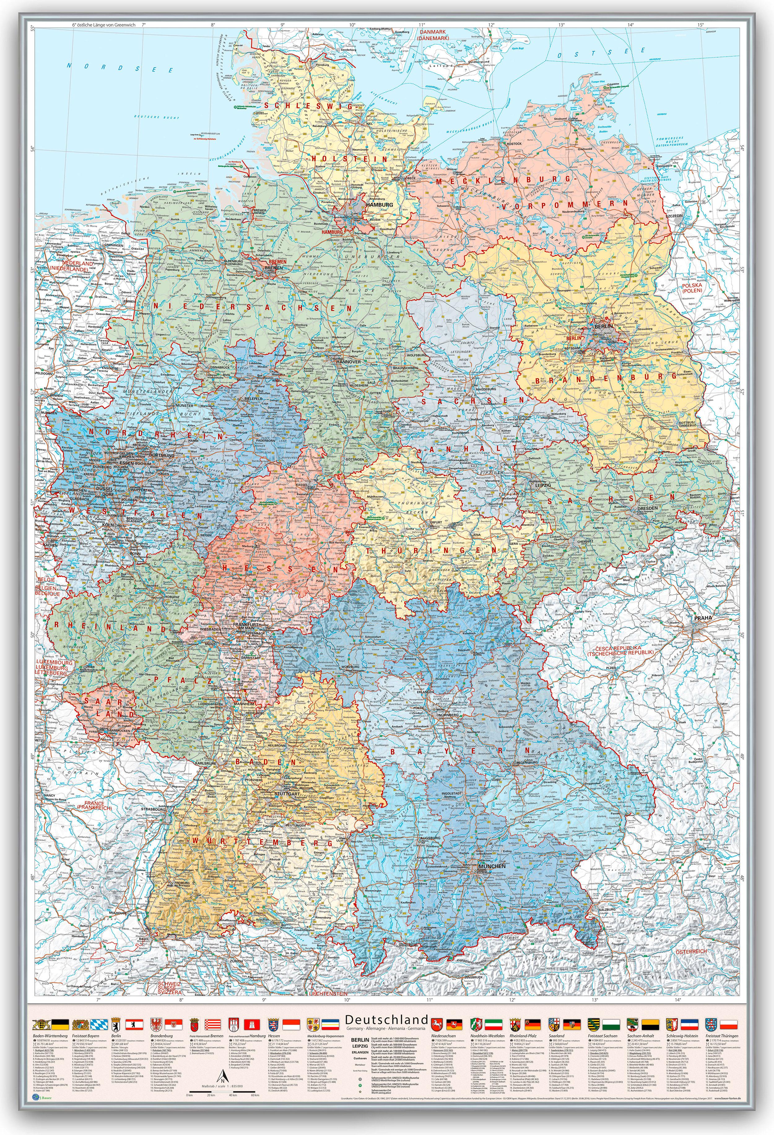 Deutschland Karte Politisch Bundeslander 80 X 120 Cm Pinnwand