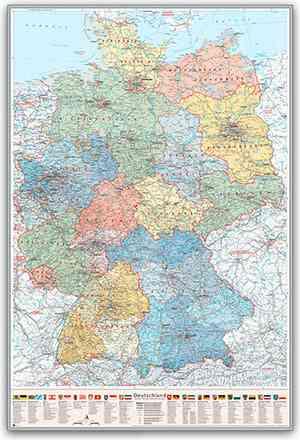 Deutschland-Karte Politisch (Bundesländer), 80 x 120 cm, Pinnwand im Alu-Rahmen