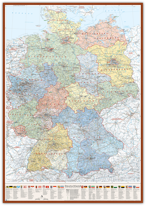 Deutschland-Karte Politisch (Bundesländer), 80 x 120 cm, Pinnwand im Holz-Rahmen (kirsche)