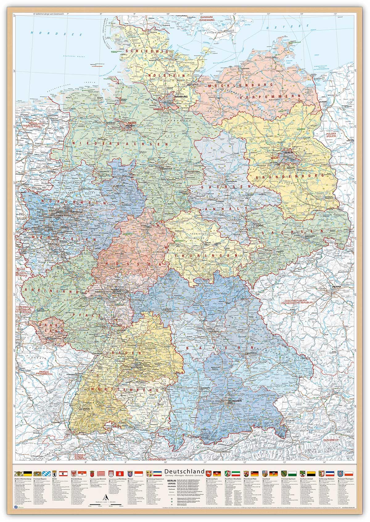 Deutschland-Karte Politisch (Bundesländer), 80 x 120 cm, Pinnwand im Holz-Rahmen (natur)