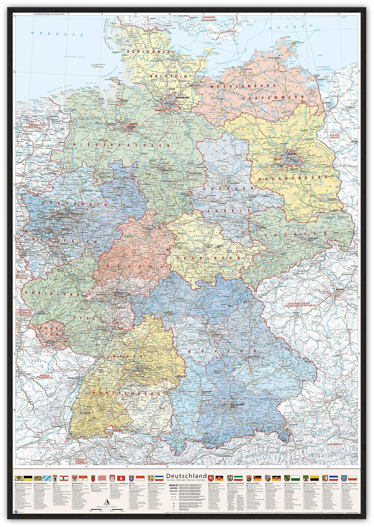 Deutschland-Karte Politisch (Bundesländer), 80 x 120 cm, Pinnwand im Holz-Rahmen (schwarz)