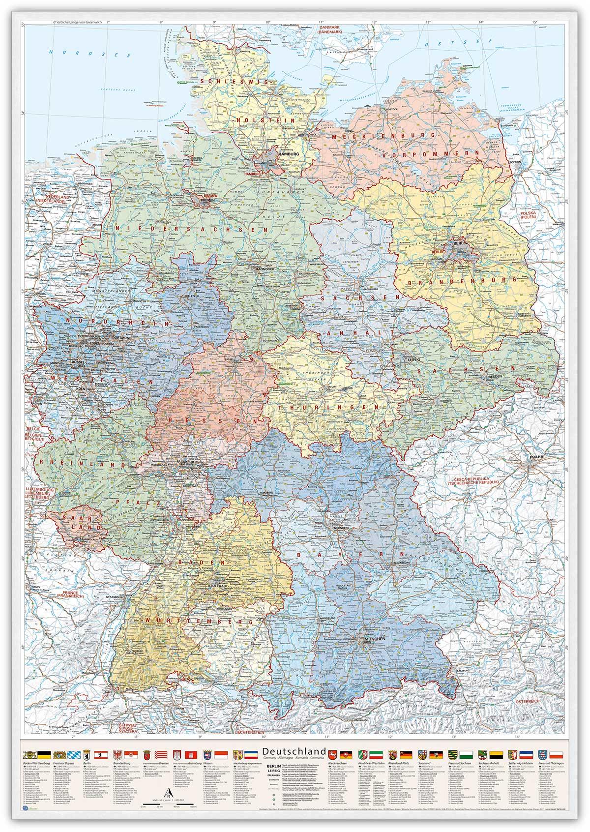 Deutschland-Karte Politisch (Bundesländer), 80 x 120 cm, Pinnwand im Holz-Rahmen (weiß)