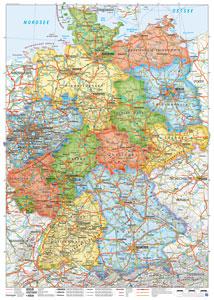 Deutschlandkarte Bundesländer, 50 x 70 cm (Poster)