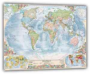 """Aktuelle Politische Weltkarte """"Antik"""" mit 4 Nebenkarten, deutsch, 100 x 70 cm"""
