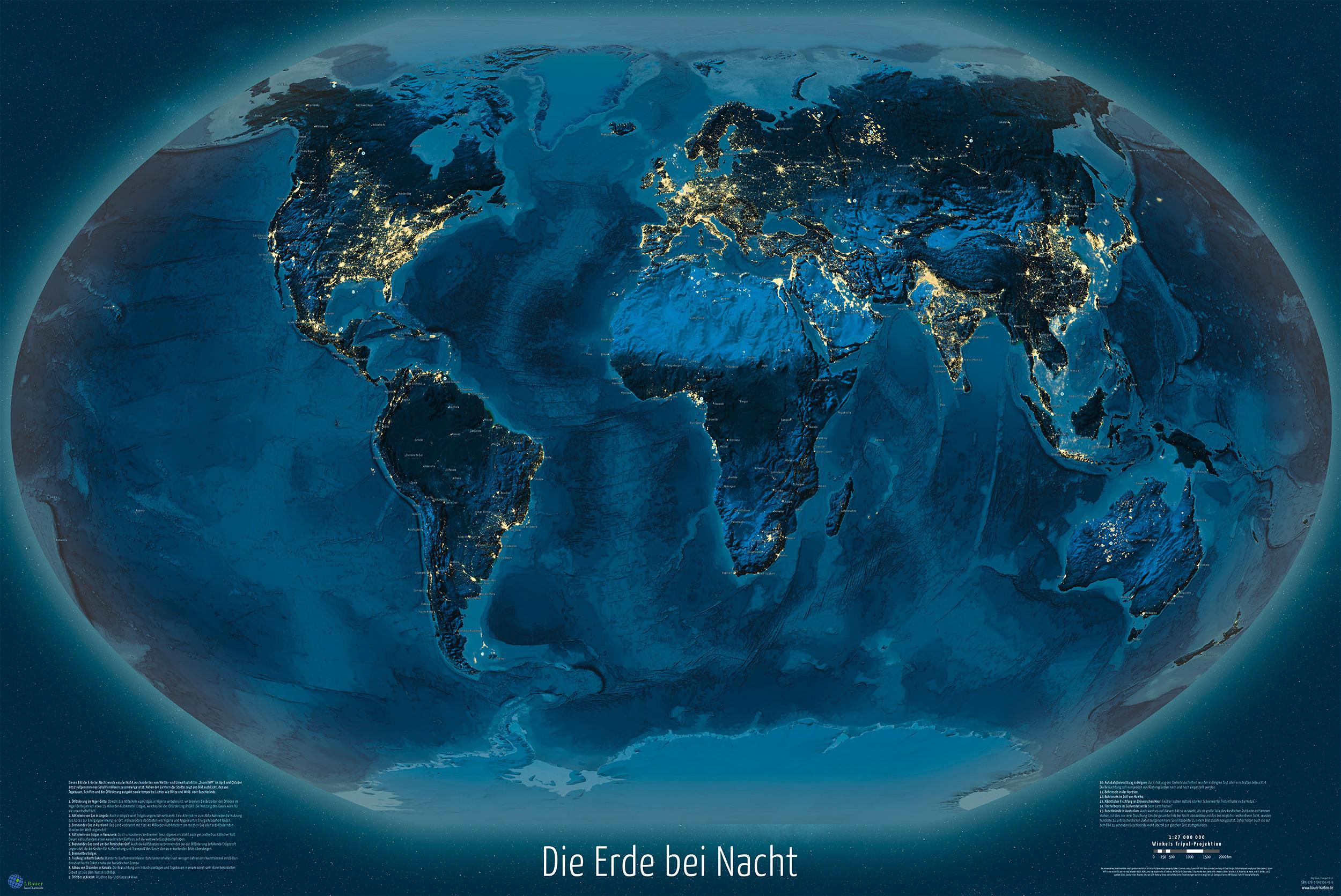 Karte Erde.Weltkarte Die Erde Bei Nacht 150x100 Cm Deutsch