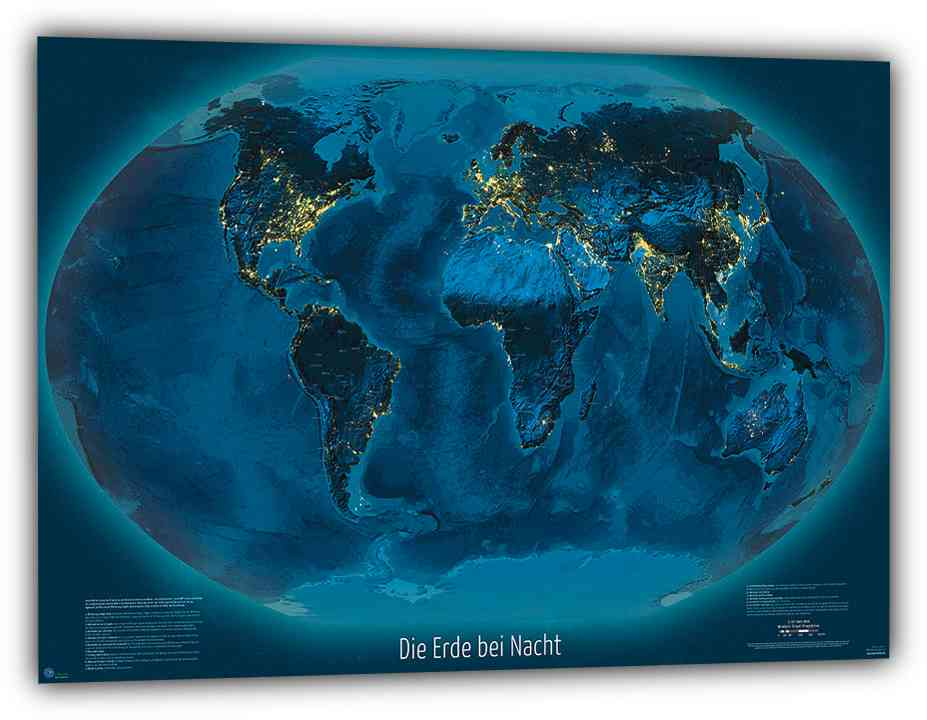 """Weltkarte""""Die Erde bei Nacht"""", 150x100 cm, deutsch"""