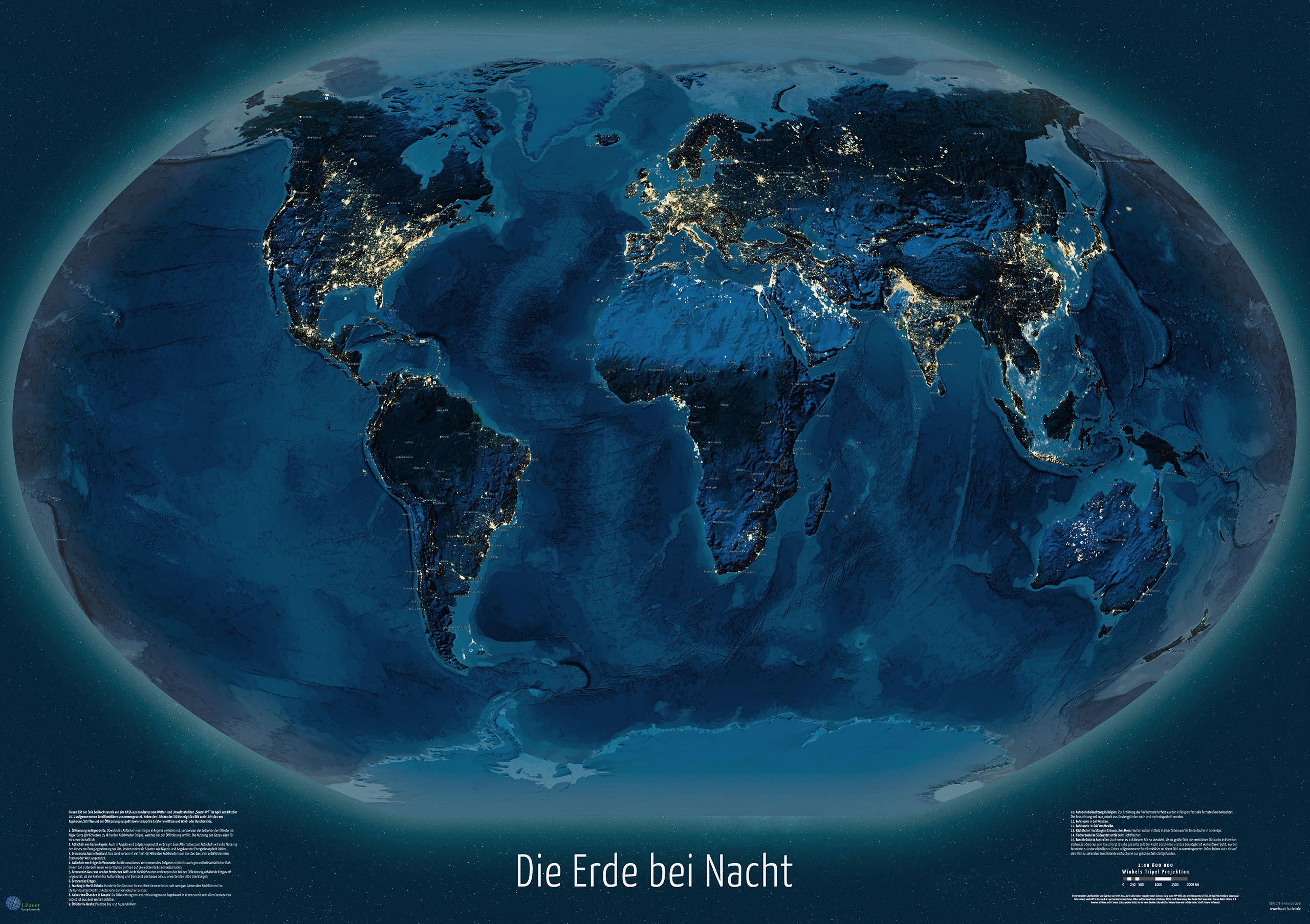 """Weltkarte """"Die Erde bei Nacht"""", 119 x 84 cm, deutsch"""