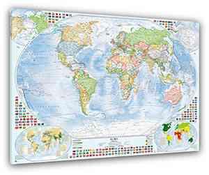 Politische Weltkarte Mit 4 Nebenkarten, 100x70 Cm, Deutsch, Leinwand Druck